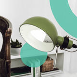 Smart home LED Bulb; interior; green desk lamp; wooden chair;