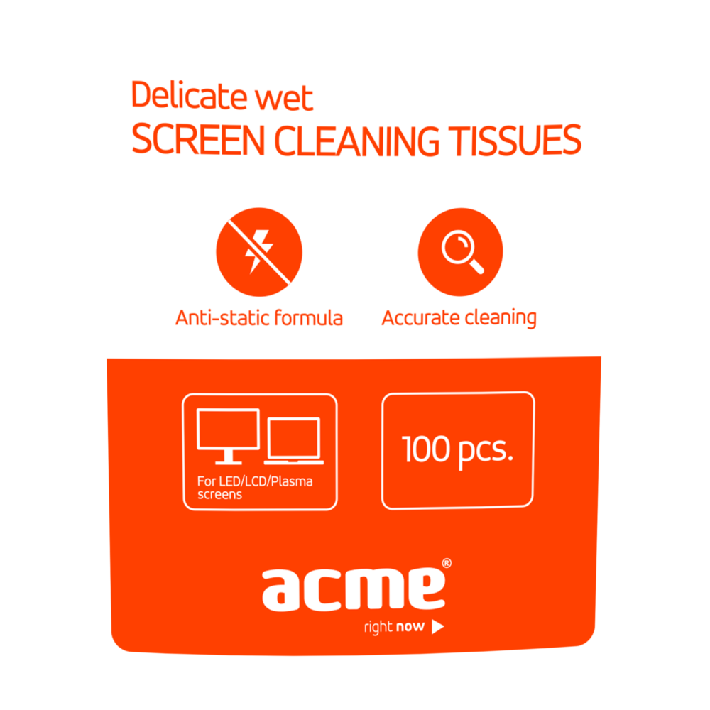 ACME Delicate Wet Screen Cleaning Tissues, 100 pcs